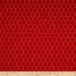 Loralie Designs Chicken Chique Wire Red Fabric
