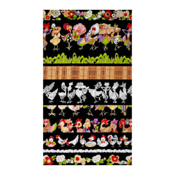 Loralie Designs Chicken Chique Chicken Strips Black Fabric