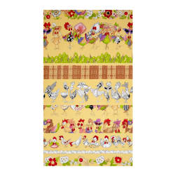 Loralie Designs Chicken Chique Chicken Strips Yellow Fabric