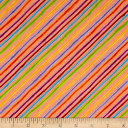 Loralie Designs Happy Camper Calico Stripe Orange Fabric