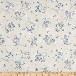 Roly-Poly Snowmen Snowmen Fun Natural Fabric