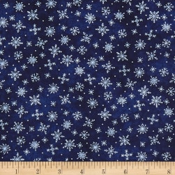 Roly-Poly Snowmen Stitched Snowflakes Deep Navy Fabric