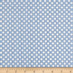 Roly-Poly Snowmen Checkerboard Blue/Natural Fabric