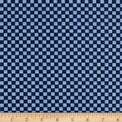 Roly-Poly Snowmen Checkerboard Navy Blue Fabric