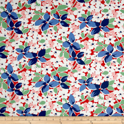 Maywood Studio Hi-de-Ho Large Floral Red/Blue Fabric