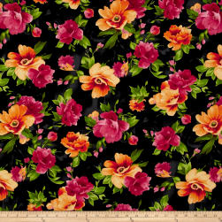 Maywood Studio Paradise Floral Paradise Charcoal Black Fabric