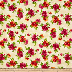 Maywood Studio Paradise Spaced Floral Cream Fabric