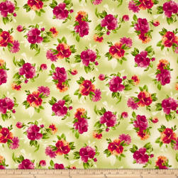 Maywood Studio Paradise Spaced Floral Soft Green Fabric