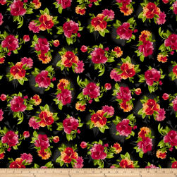 Maywood Studio Paradise Spaced Floral Charcoal Black Fabric