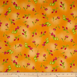 Maywood Studio Paradise Floral Buds Soft Orange Fabric