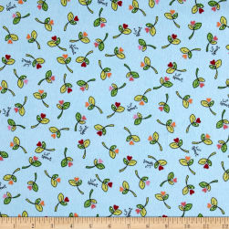 Maywood Studio Kimberbell Lil' Sprout Flannel Too! Sprouts N' Hearts Tossed Blue Fabric