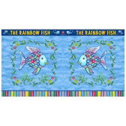 Rainbow Fish? Pillow 24''Panel Blue Fabric