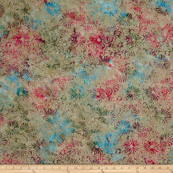 Sarah J Must Have Batiks Flowers Khaki Fabric