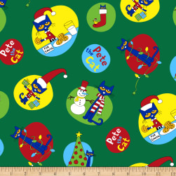 Pete The Cat Christmas Allover Green Fabric