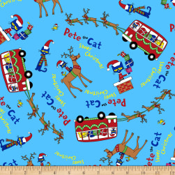 Pete The Cat Christmas Allover Blue Fabric