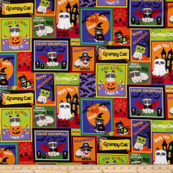 Grumpy Cat Halloween Patch Purple Fabric