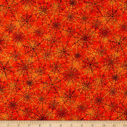 Grumpy Cat Halloween Spider Web Orange Fabric