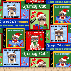 Grumpy Cat Christmas Patch Multi Fabric
