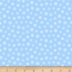 Grumpy Cat Christmas Snowflakes Blue Fabric