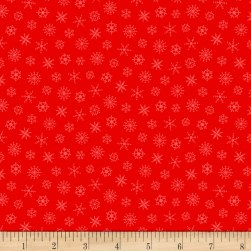 Grumpy Cat Christmas Snowflakes Red Fabric