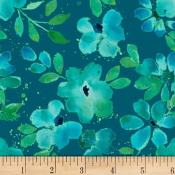 Nancy Rink Sea Glass Water Floral Navy Fabric