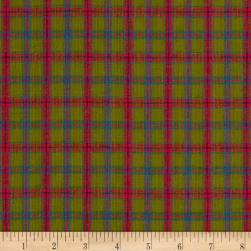 Rustic Wovens Small Plaid Olive/Red/Blue Fabric