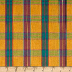 Yarn Dyed Shirting Plaid Gold Fabric