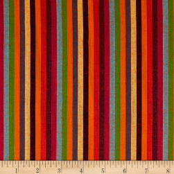 Yarn Dyed Shirting Thin Stripe Bright Orange/Multi Fabric
