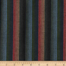 Yarn Dyed Shirting Wide Stripe Navy/Red/Olive/Khaki Fabric