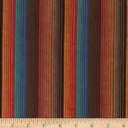 Yarn Dyed Shirting Wide Stripe Brown/Teal/Rust Fabric