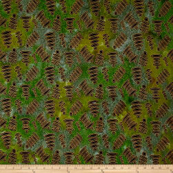 Urban Ethnic Metallic Gold Ovals Green/Yellow Fabric