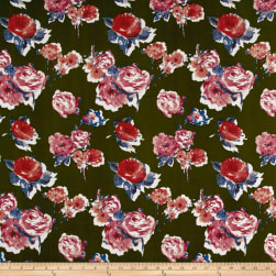 Liverpool Knit Roses Mauve on Olive Fabric