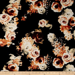 Liverpool Knit Roses Burgundy on Black Fabric