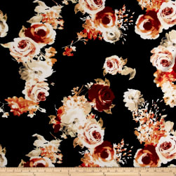 Liverpool Knit Roses Rust on Navy Fabric