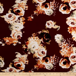 Liverpool Knit Roses Rust on Burgundy Fabric