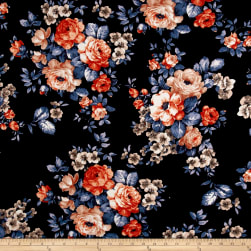 Liverpool Knit Roses Rust on Black Fabric