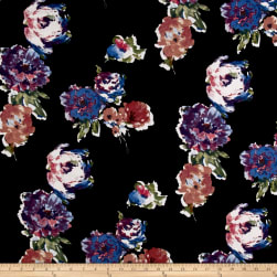 Liverpool Knit Roses Lilac/Blue on Black Fabric