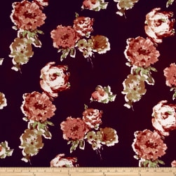 Liverpool Knit Roses Brown on Berry Fabric