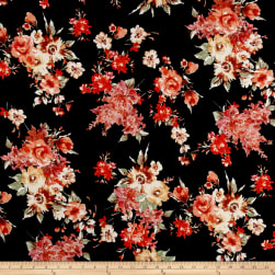 Liverpool Knit Floral Bouquet Coral on Black Fabric