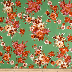 Liverpool Knit Floral Bouquet Coral on Green Fabric