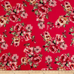 Liverpool Knit English Roses Mauve on Dark Coral