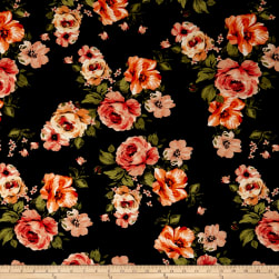 Liverpool Knit English Roses Coral/Olive on Black Fabric