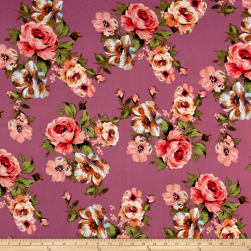 Liverpool Knit English Roses Coral on Pink Fabric
