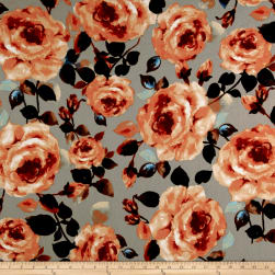 Liverpool Knit Roses Coral on Khaki Fabric