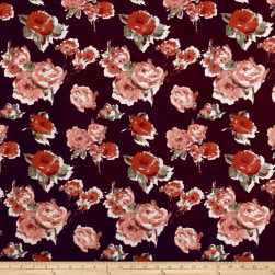 Liverpool Knit Roses Rust on Wine Fabric