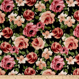 Liverpool Knit Floral Garden Mauve on Olive Fabric