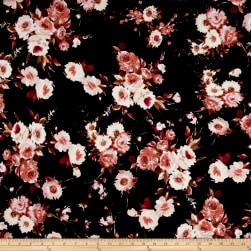 Liverpool Knit English Floral Rust on Black Fabric