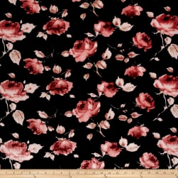 Stretch Velvet Print Roses Pink on Black