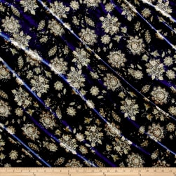 Stretch Velvet Print Victorian Floral Taupe/Navy Fabric