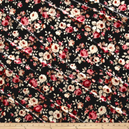 Stretch Velvet Print Floral Pink/Rust on Black Fabric